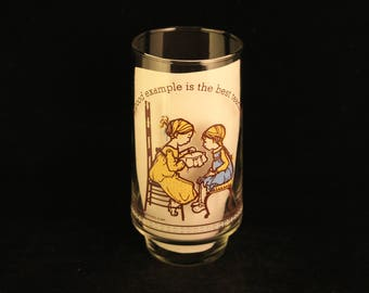 """Vintage Holly Hobbie Happy Talk Coca Cola Limited Edition Collector's Glass Tumbler """"Good Example Is The Best Teacher."""""""