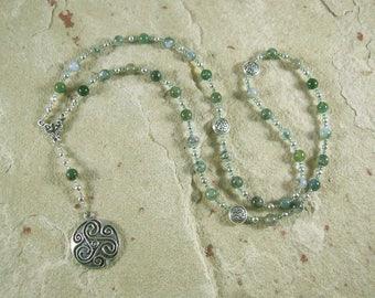 Danu Prayer Bead Necklace in Moss Agate: Irish Celtic Mother Goddess