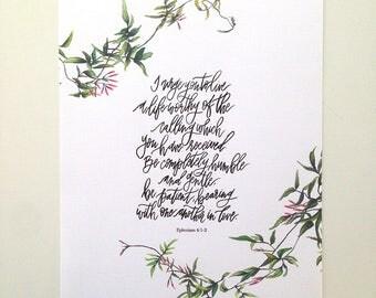 Ephesians 4:1-2 Hand Lettered Art Print