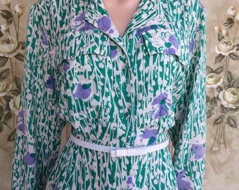 Original Vintage 1960's silk shirt dress. Size 12. #A29