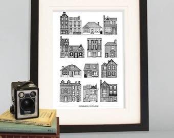 A3 Houses of Edinburgh Cityscape, A3 Art Print, Wall Decor, Poster, Black and White print, Edinburgh, Scotland, Scotland print