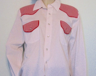 Vintage Shirt Rodeo Western Red Checks Rockabilly Malco Modes Cowboy Shirt Made in USA