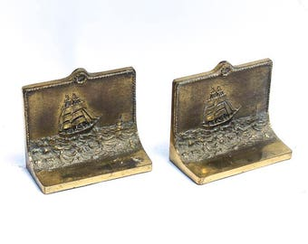 Antique Bradley & Hubbard Bookends Ship At Sea On the Road To Mandalay, Rare Vintage Brass Bookends, Nautical Deco, Viking Ships Sailing