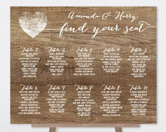 Rustic Wedding Seating Chart Sign DIY / Rustic Wood Sign, White Calligraphy / Custom Seating Sign ▷ Personalized and emailed printable file