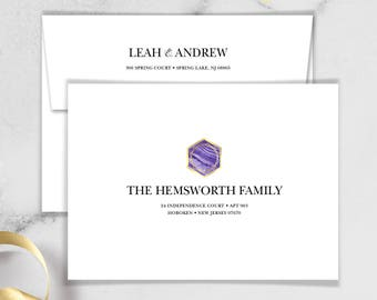 Ultraviolet Envelopes with Guest & Return Address Printing / Purple Gemstone Marble, Purple and Gold Geometric ▷ INVITE {or} RSVP Envelopes