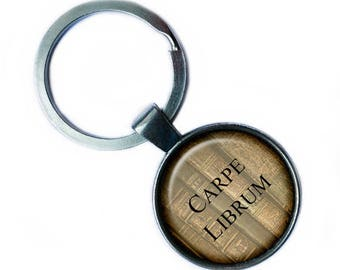 Latin Quote Carpe Librum Seize the Book Keychain Keyring