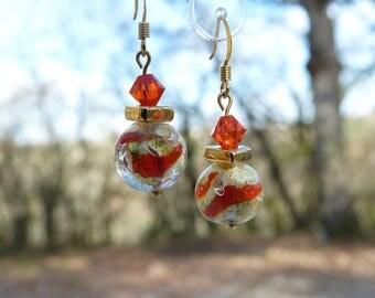 Murano glass Orange gold leaves with Swarovski crystal earrings