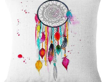 Multi Coloured Dreamcatcher Boho Bold Pillow Cushion Cover Linen Cotton Shabby Chic