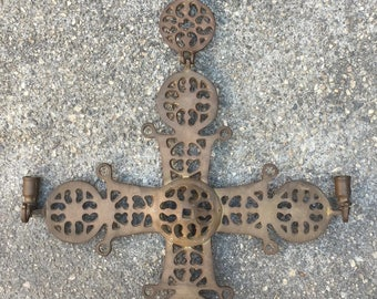 Vintage Russian Byzantine style Christian Crusades St. George Brass Hanging Wall Cross Candle Holder