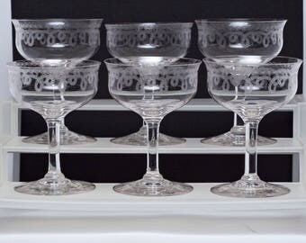 "Set of 6 Morgantown 197-1 Etched Garland Champagne Glasses 5 5/16"" tall"