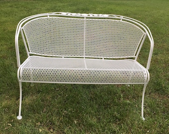 Vintage Woodard Patio Bench, Woodard Settee, Daisy Bouquet, White Wrought  Iron Bench,
