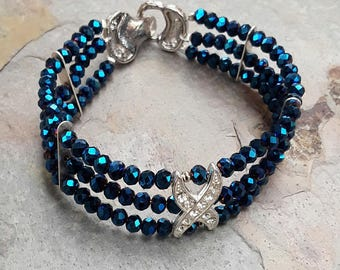 Blue Rhinestone Bracelet, Double Strand Bracelet, Blue Jewelry, Two Strand Bracelet, Gift For Her, Australian Made, Beaded Bracelet