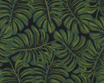 Menagerie by Rifle Paper Co for Cotton + Steel - Monstera Midnight - Rayon Lawn Fabric