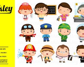 50%OFF!! Occupation Clipart - Cute Clipart, Job Clipart, Fun Clipart, Clipart Set, Adorable Digital Clip Art