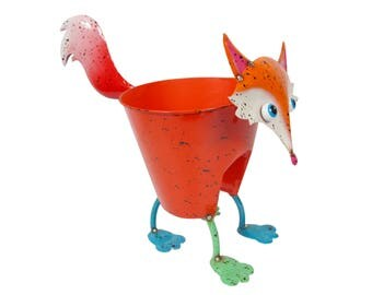 hand painted metal planter - rooster/cow/fox