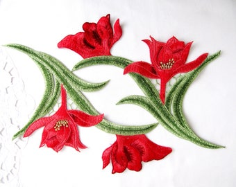 2Pcs.LILY Patches/Red Lily Applique/Embroidery Patches/ Floral Applique  for Craft DIY Craft Costume Embellishment