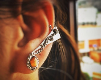 Ear cuff Climber left ear, Climber earring ,Silver earring ,Silver and stone earring