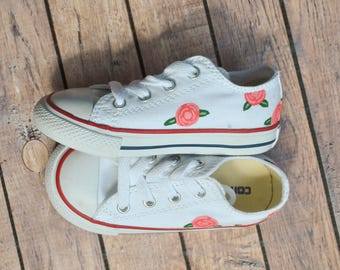 White Converse w/ Hand Painted Roses