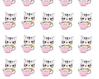 Tea Time Cat Planner Stickers