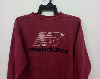 new balance jumper. vintage 80s new balance sweatshirt spellout embroidered big logo jumper pullover sweater hoodie size l hiphop