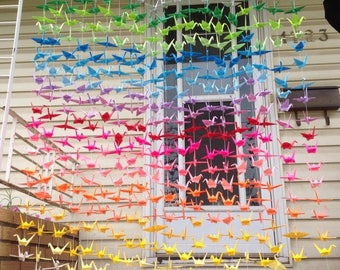 500 Colourful Paper Cranes On String- Origami Cranes - Ombre Origami Backdrop