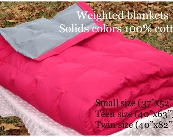 Weighted Blanket for Adult (40x 82) Teen (40x63) Small (37x52) Twin weighted blanket, autism blanket, Anxiety - Solid color