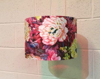 Beautifully handmade drum lampshade in vintage floral fabric
