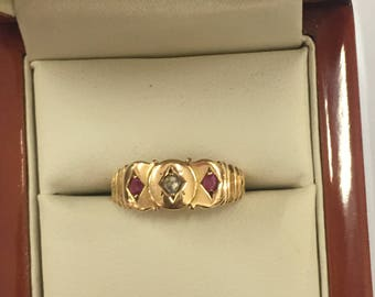 Vintage 15ct Yellow Gold Ruby and Diamond 1970s Ring Size L