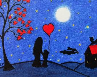 Mother Daughter Card, Child Heart Moon Card, Daughter Birthday Card, Mother Child Moon Stars Card, Hare Heart Tree Card, Child Cat Card, Art