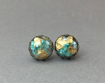 Unique resin cabochon earrings in turquoise gold * unique * one of a kind