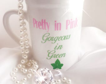 AKA Sorority Ceramic Mug   Insulated Cup   AKA Sorority   Pink Green   Handmade   Ceramic Mug   Pretty Girl   Personalized Cup
