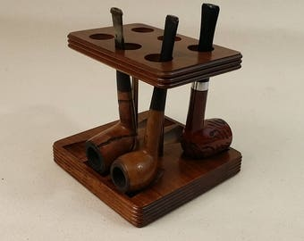 Standing Walnut 6 Slot Pipe Stand / Decatur Pipe Holder / Rack / Vintage - Great Condition - Solid Walnut