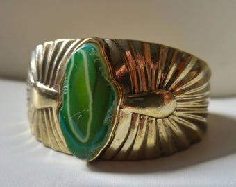 "Brass and stone cuff bracelet / green agate / Egyptian style / 3"" wide x 1.5"" tall / cuff / statement jewellery / unique jewelry / boho chic"