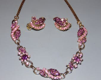 """Vintage """"CLAUDETTE"""" Necklace and Earring Set Vintage Rhinestone Jewelry"""