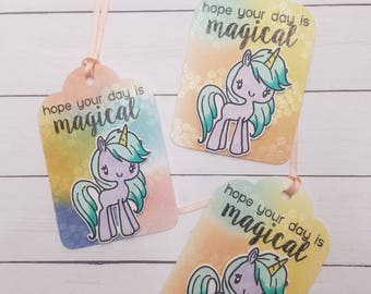 custom unicorn theme, water colored favor bag tags. uniquely hand water colored and glitter