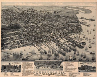 Pensacola, Fl. Panoramic Map from 1885. This print is a wonderful wall decoration for Den, Office, Man Cave or any wall