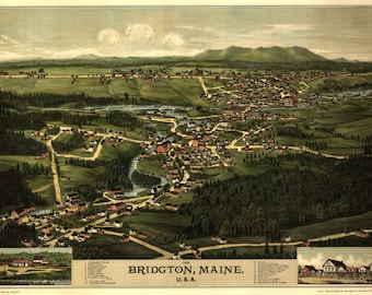 Bridgton Maine Panoramic Map dated 1888. This print is a wonderful wall decoration for Den, Office, Man Cave or any wall.