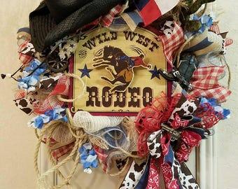 Rodeo Wreath, Western Wreath, Cowboy Wreath, Rustic Wreath, Rodeo Decor, Western Decor, Cowboy Decor, Wild West Wreath, Wild West Decor