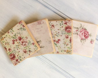 Antique rose design pine coasters - Decoupage - Gift for her - Custom coasters set - Coasters holder - Pine wood - Country decor - Farmhouse