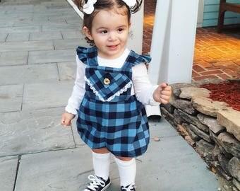 Baby Girls Romper- Toddler Romper- Buffalo Plaid Romper- Buffalo Check Romper- Pinafore Romper- Size 3m, 6m, 9m, 12m, 18m, 2t, 3t,4t