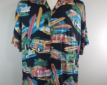 Diamond Head Sportswear Aloha Hawaiian Woody Surfboard Vacation Camp Shirt Vintage Hawaii 100% Rayon