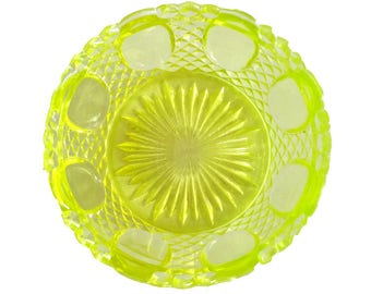 French Vintage Vaseline Glass Cup or Bowl - Lemon Yellow Green Molded Glass Cup