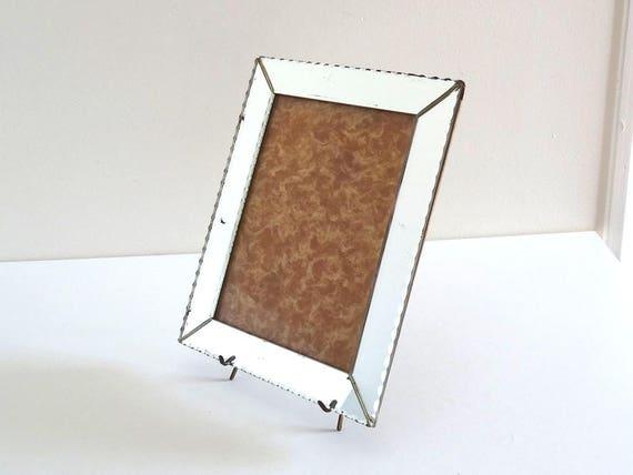 cadre photo ancien en miroir biseaut sous verre photo. Black Bedroom Furniture Sets. Home Design Ideas