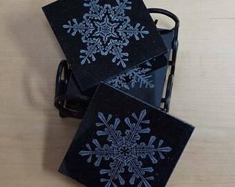 Black Granite Snowflake Coaster Set ~ Laser Engraved ~ Winter Snowflakes ~ Christmas Coasters