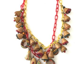 Vintage Celluloid and Wood 1940s Bib Necklace