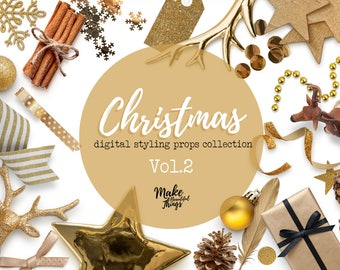 Christmas V.2 / Digital styling props collection / Movable elements / Instant download