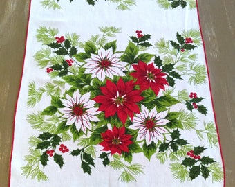 "Handmade Vintage Table Runner / 15"" x 45.5""/ Christmas Poinsettias/Cotton/ Holiday Tablescape/ Christmas Party"