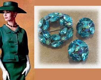 Eye Catching Vintage Silver Tone Turquoise Rhinestone Brooch and Matching Clip Earrings, Flea Market Find