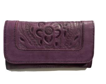 Women Handmade Tooled Cowhide Leather wallet.Trifold-Women's PURPLE Leather Wallet-Leather Wallet, Leather Purse-  PURPLE  wallet-