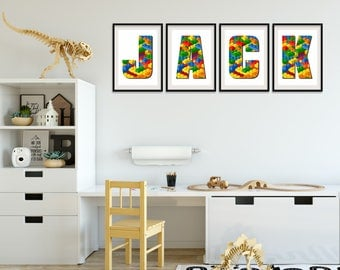 Lego Wall Art, Lego Name, Lego Bedroom, Lego Letters, Lego Art, Personalised Name Signs, Name Pictures, Name Print, Boys Wall Art